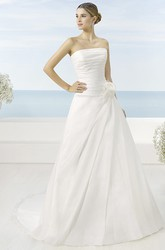 A-Line Sleeveless Strapless Long Side-Draped Satin Wedding Dress With Flower