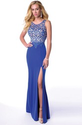 Lace Bodice Sleeveless Jersey Homecoming Dress With Side Split And Back Keyhole
