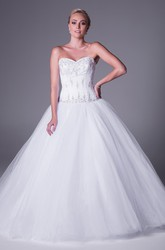 Ball Gown Sweetheart Maxi Tulle Wedding Dress With Beading