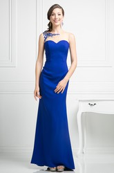 Sheath Ankle-Length Bateau Sleeveless Jersey Illusion Dress With Embroidery