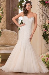Sweetheart Mermaid Gown With Beadings And Lace-Up Back