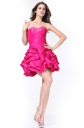 A-Line Short Sweetheart Sleeveless Satin Lace-Up Dress With Beading And Pick Up