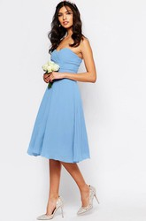 Sweetheart Knee-Length Chiffon Bridesmaid Dress With Ruching And Zipper