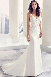 V-Neck Floor-Length Appliqued Chiffon Wedding Dress With Court Train And V Back