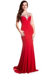 Sheath Sleeveless Long Scoop Beaded Chiffon Prom Dress With Illusion Back And Brush Train