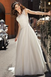 A-Line Sleeveless Floor-Length Scoop-Neck Appliqued Satin Wedding Dress With Beading