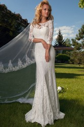 Sheath 3-4 Sleeve Appliqued Scoop Neck Lace Wedding Dress With Keyhole