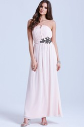 Notched Ankle-Length Sleeveless Beaded Chiffon Bridesmaid Dress With Ruching