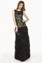 Scoop Neck Drop Waist Lace Long Prom Dress With Feather Skirt And Crystal
