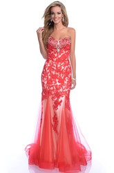 Sleeveless Mermaid Tulle Gown Featuring Rhinestones Bust And Lace Appliques