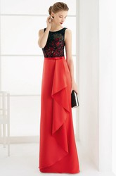 Sleeveless Side Drape Sheath Satin Long Prom Dress With Lace Top And Bow