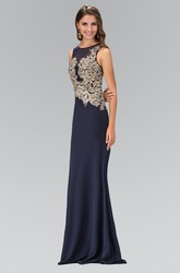 Sheath Long Scoop-Neck Sleeveless Jersey Illusion Dress With Appliques