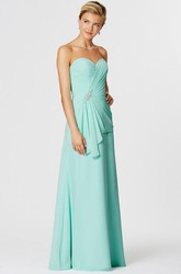 Sleeveless Ruched Sweetheart Chiffon Bridesmaid Dress With Draping And Broach