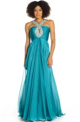 Maxi Sleeveless Strapped Beaded Chiffon Prom Dress With Ruching