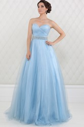 A-Line Sweetheart Criss-Cross Sleeveless Floor-Length Tulle Prom Dress With Waist Jewellery