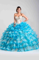 Sweetheart Ball Gown With Layered Ruffles And Detachable Cape