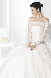 Long Jeweled Long-Sleeve Off-The-Shoulder Chiffon Wedding Dress With Lace And Illusion
