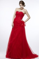 A-Line Sleeveless Strapless Beaded Floor-Length Tulle&Lace Prom Dress With Ruffles And Flower
