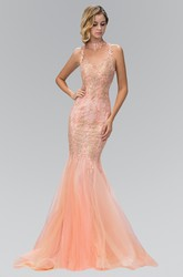 Mermaid Halter Sleeveless Tulle Illusion Dress With Appliques And Beading