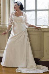 Sweetheart Taffeta Bridal Gown With Lace Bodice And 3-4-Sleeve Jacket
