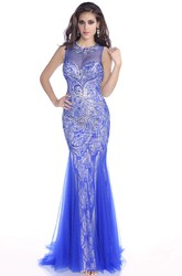 Crop Top Tulle Sleeveless Trumpet Prom Dress With Jewels And Keyhole Back