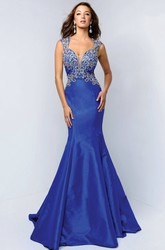 Mermaid Long Queen Anne Satin Backless Dress With Beading