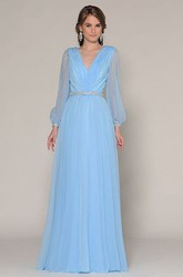 Floor-Length V-Neck Puff-Sleeve Prom Dress
