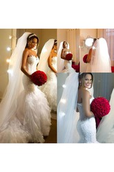Mermaid Trumpet Sweetheart Organza Lace Deep-V Back Wedding Gown