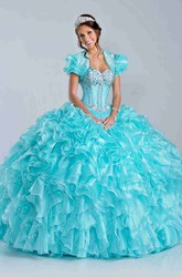 Lace-Up Back Cascading Ruffle Skirt Ball Gown With Sweetheart Neck