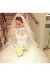 Ball Gown High Neck Lace Tulle Button Zipper Wedding Dress