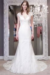 Trumpet V-Neck Cap-Sleeve Floor-Length Lace Wedding Dress With Appliques And Illusion