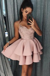 A-line Short Mini Sleeveless Spaghetti Beading Lace Ruffles Tiers Satin Lace Homecoming Dress