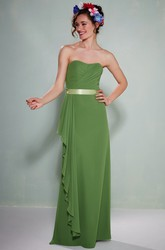 Criss-Cross Strapless Chiffon Bridesmaid Dress With Draping And Sash