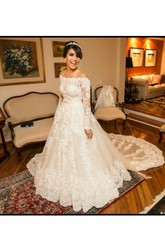 Ball Gown Off-the-shoulder Lace Tulle Zipper Wedding Gown