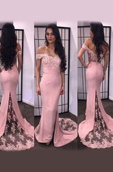 Trumpet Mermaid Off-the-Shoulder Sleeveless Lace Satin Sweep Brush Train Dresses