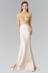 Sheath Maxi High Neck Sleeveless Satin Illusion Dress With Beading And Appliques