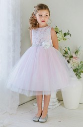 Tea-Length Floral Tiered Tulle&Lace Flower Girl Dress