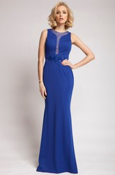 Sleeveless Jeweled Scoop Neck Chiffon Prom Dress With Brush Train