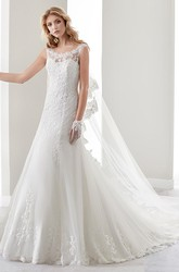 Scooped-Neck Brush-Train Lace Gown With Cap Sleeves And Illusive Neckline And Back
