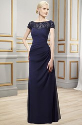 Sheath Bateau Short-Sleeve Appliqued Long Chiffon Formal Dress With Illusion Back And Side Draping