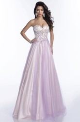 Beautiful Sweetheart A-Line Tulle Prom Dress With Open Back And Jeweled Bodice