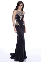 Sheath Sleeveless Jewel Neck Jersey Prom Dress With Rhinestones Appliques And Keyhole Back