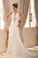 Elegant Chiffon A-line Halter Floor Length Wedding Gown