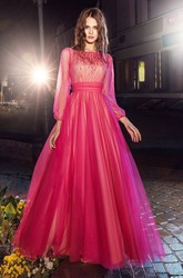A-Line Floor-Length Bateau Long Sleeve Tulle Illusion Dress