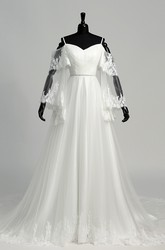 Tulle A-line Off-the-shoulder Spaghetti Bell Illusion Long Sleeve Wedding Dress with Appliques and Pleats