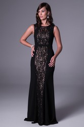 Sheath Floor-Length Scoop-Neck Sleeveless Lace Prom Dress