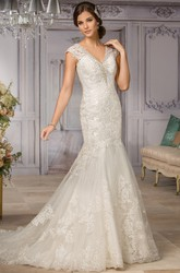 Cap-Sleeved V-Neck Mermaid Gown With Appliques And Illusion Back