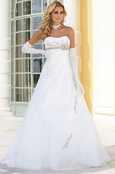 Strapless Floor-Length Floral Satin Wedding Dress With Appliques