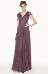 V Neck Lace Cap Sleeve A-Line Tulle Long Prom Dress With Beading Waist