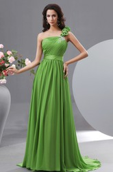 One Shoulder Chiffon A-Line Prom Gown With Crystal Details